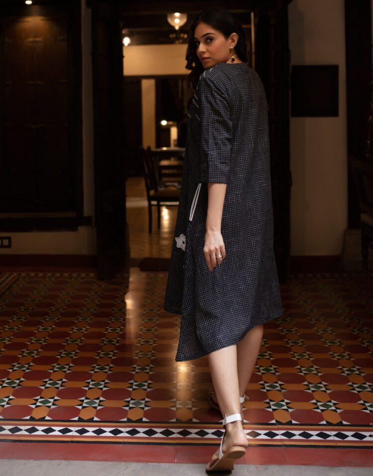Black-White Checkered Dress