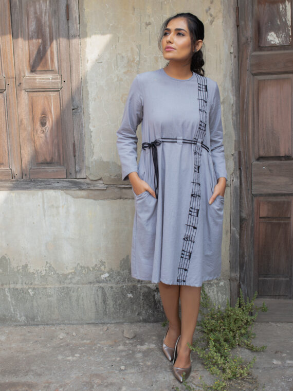 Grey Embroidered One-Piece (2)