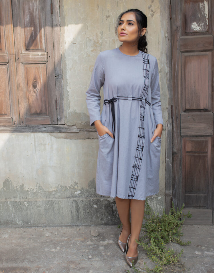 Grey Embroidered One-Piece