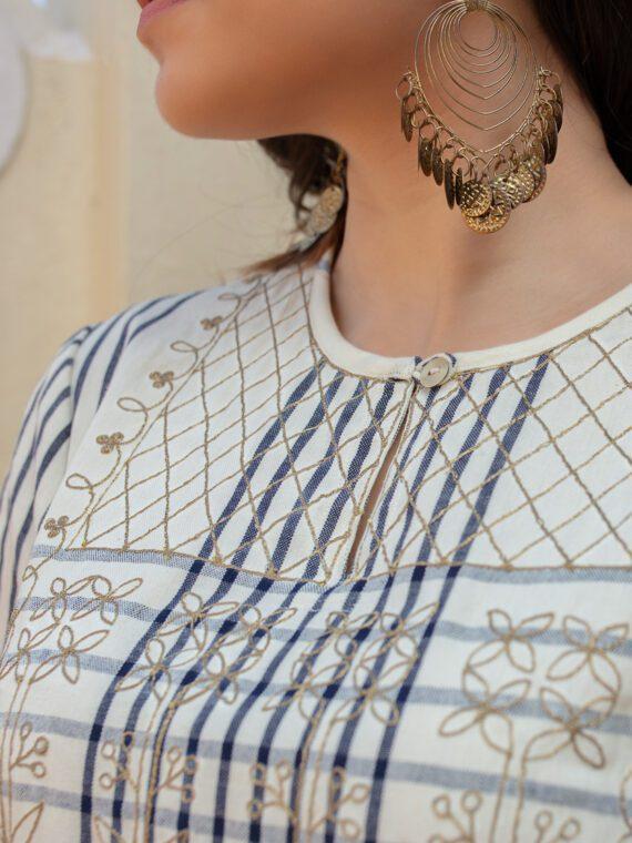 White-Blue Embroidered Kurta
