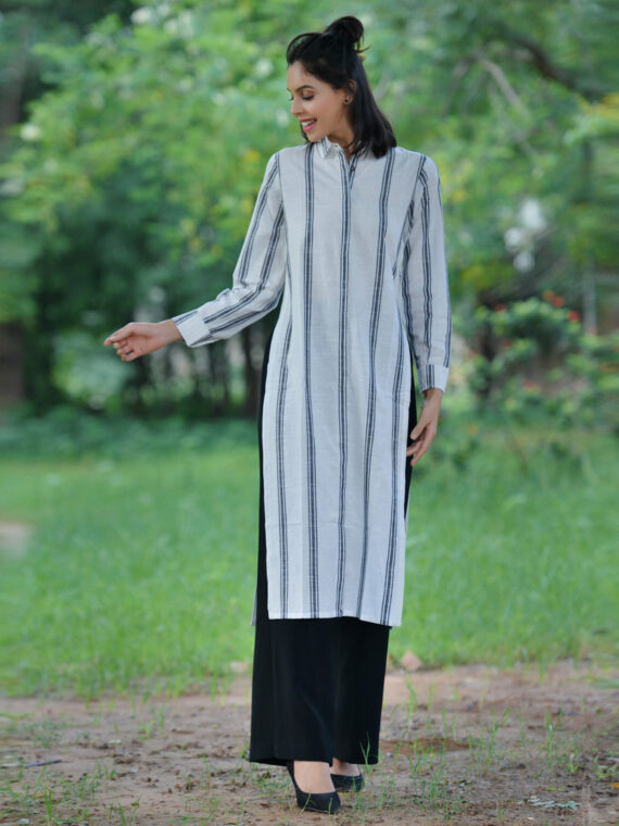 White Striped Kurta-Shrug