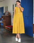 Yellow Pleated One-Piece