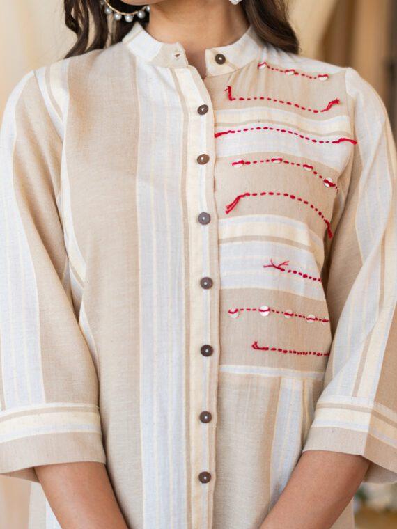 Cream Shirt Top