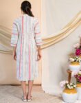 White Dress with Colored Stripes