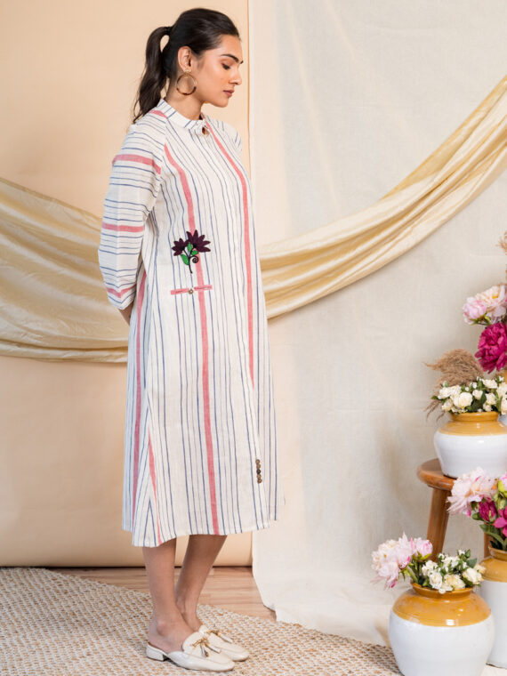 White Dress with Colored Stripes (6)